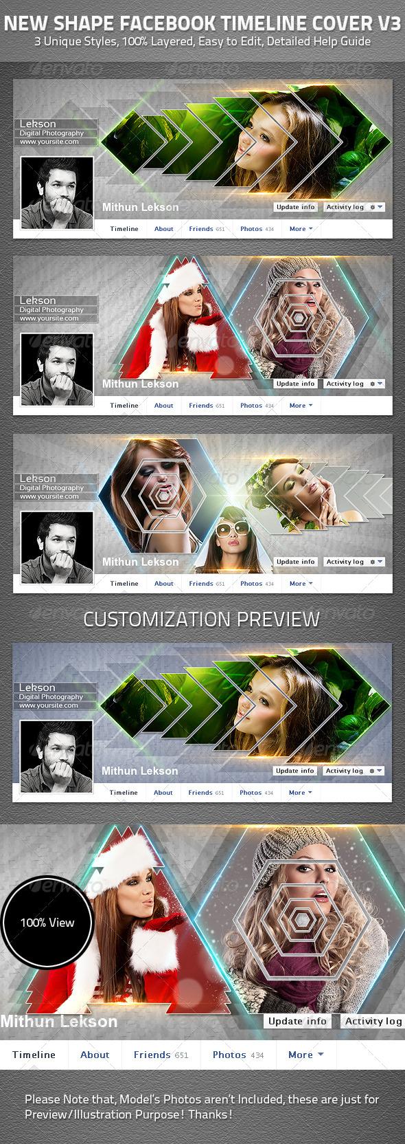 New Shape Facebook Timeline Cover V3 - Facebook Timeline Covers Social Media