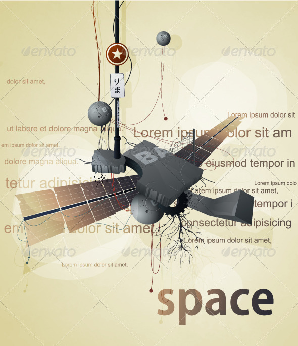 Abstract space station satellite with wings  - Abstract Conceptual
