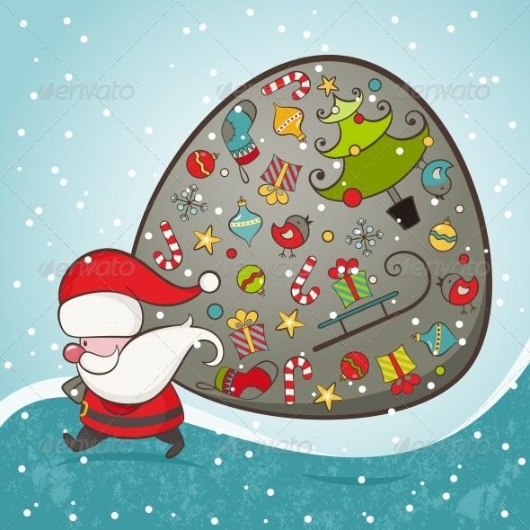 Santa Claus and Bag with Gifts - Christmas Seasons/Holidays