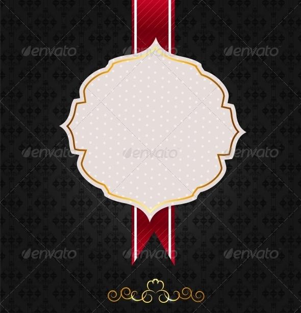 Vintage Background with Golden Frame - Decorative Symbols Decorative
