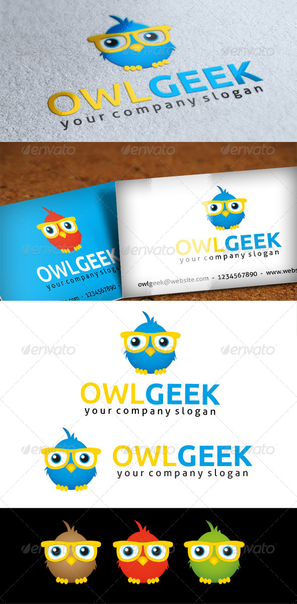 Owl Geek Logo - Animals Logo Templates