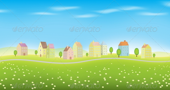 Houses on Landscape - Buildings Objects