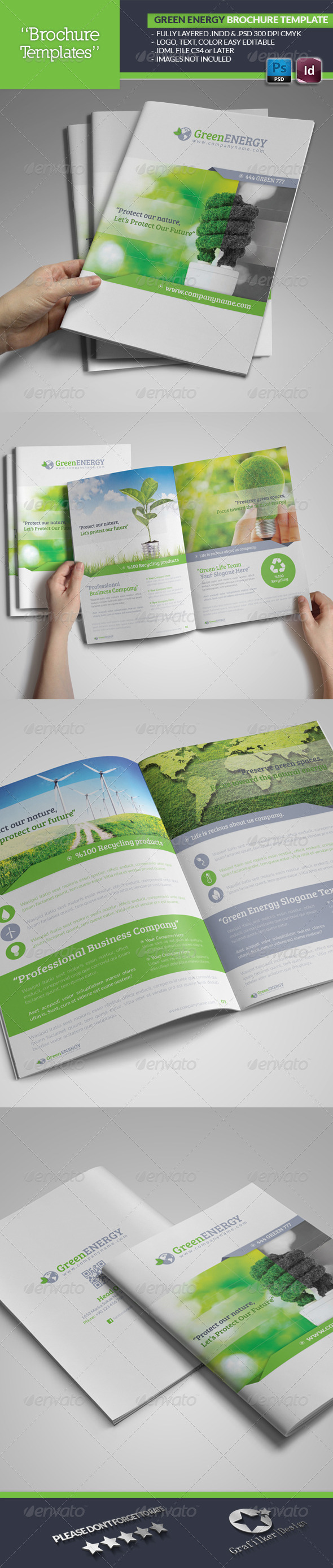 Green Energy Brochure Template - Brochures Print Templates
