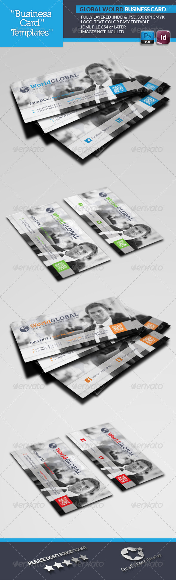 Global World Business Card Template - Corporate Business Cards