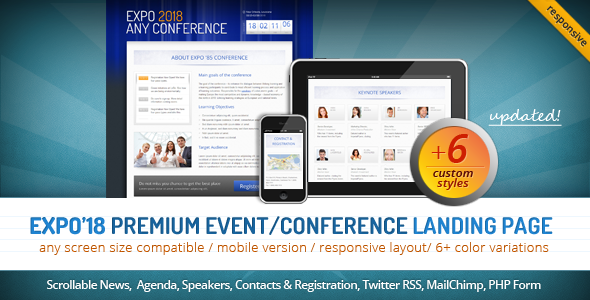 Expo'18 Responsive Event/ Conference Landing Page - Business Corporate