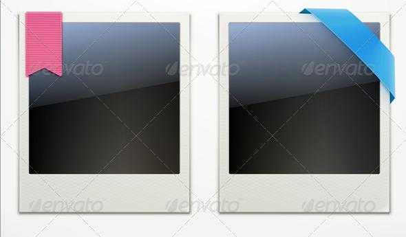 Two Retro Polaroid Photo Frames - Borders Decorative
