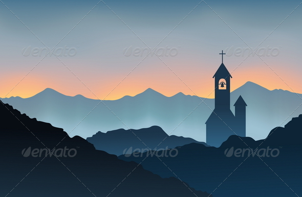 Monastery on the Mountain - Religion Conceptual