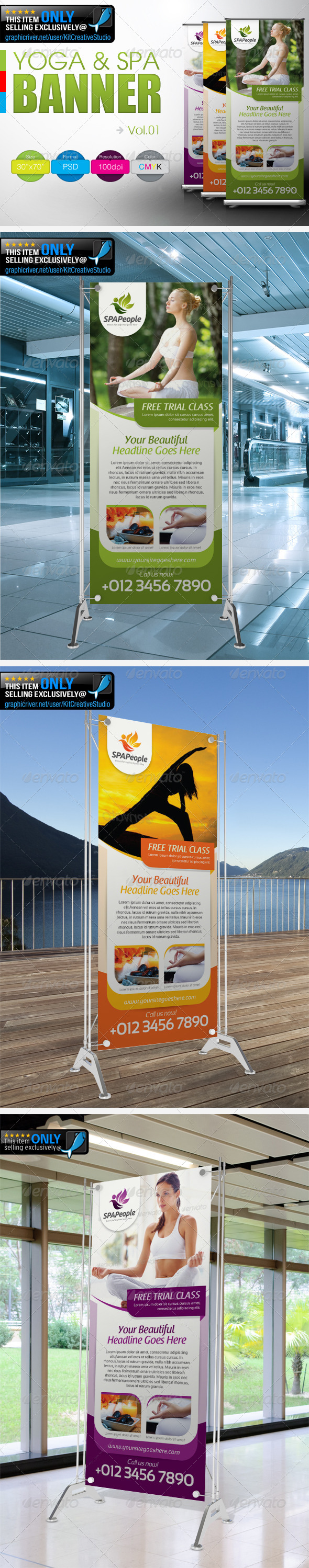 Simple Yoga & SPA Banner Vol.1 - Signage Print Templates