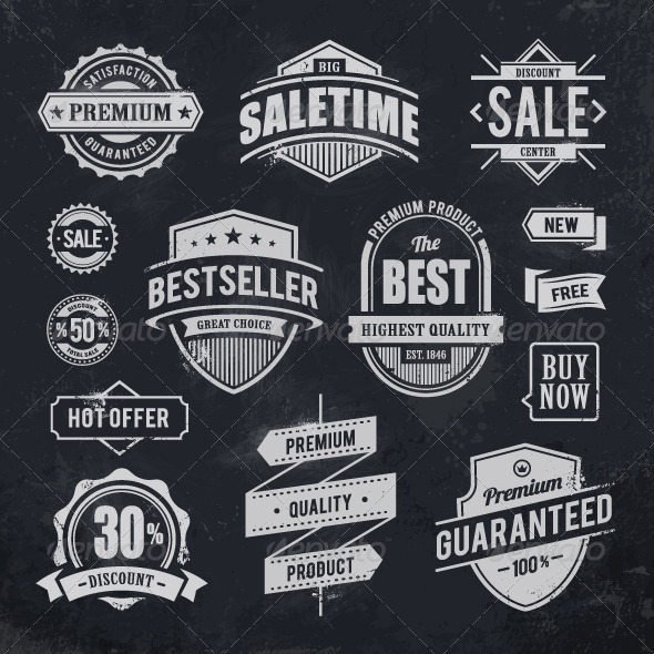 Chalk Drawn Sale Emblems - Vectors