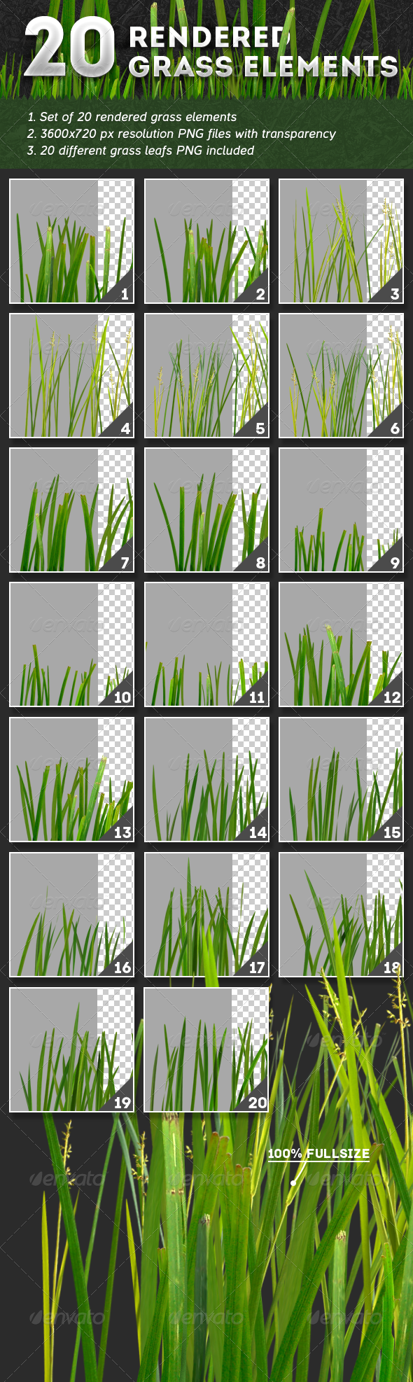 20 Rendered Grass Elements - 3D Backgrounds