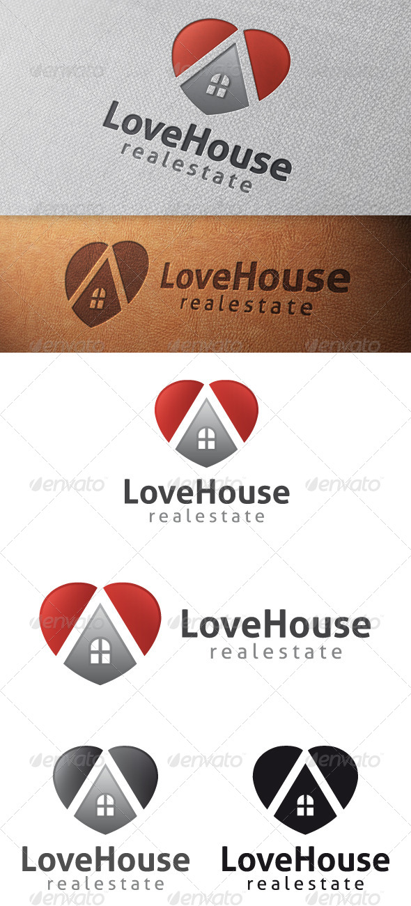 Love House Logo Template - Buildings Logo Templates
