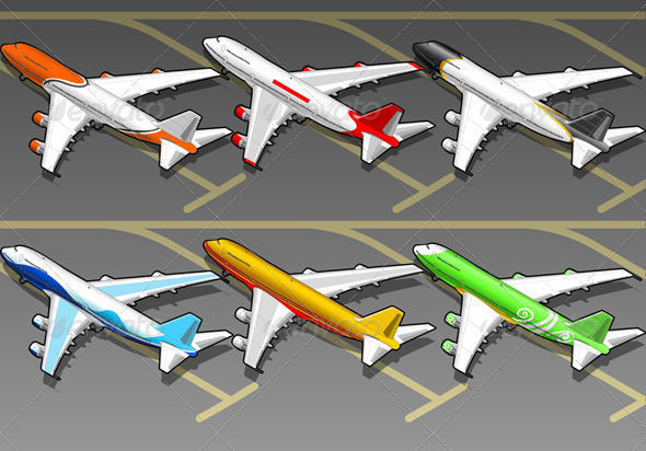 Isometric Airplanes in Six Livery in Rear View - Objects Vectors