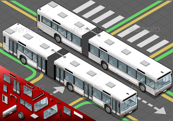 Isometric Long Bus in Front View - Objects Vectors