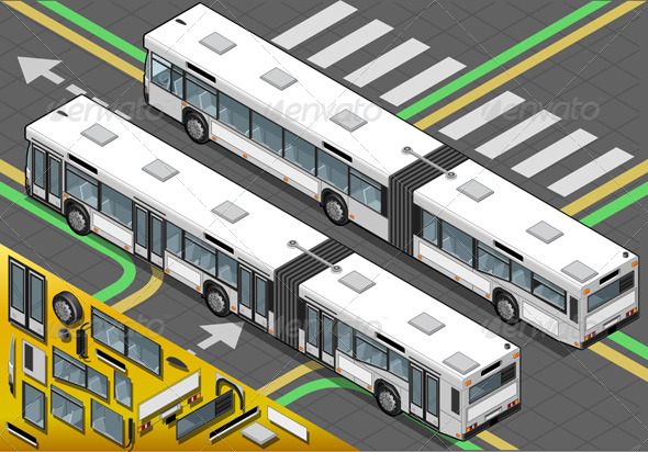 Isometric Long Bus in Rear View - Objects Vectors