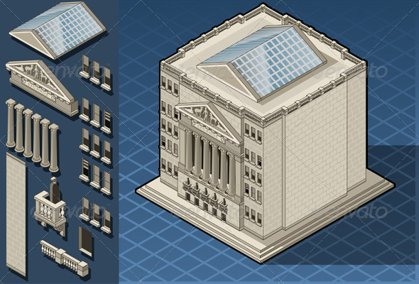 Isometric Stock Exchange Building in New York - Buildings Objects