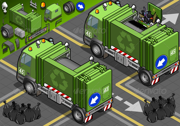 Isometric Garbage Truck in Front View - Objects Vectors