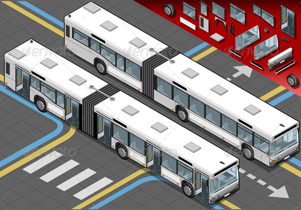 Isometric Long Bus with Open Doors in Front View - Objects Vectors