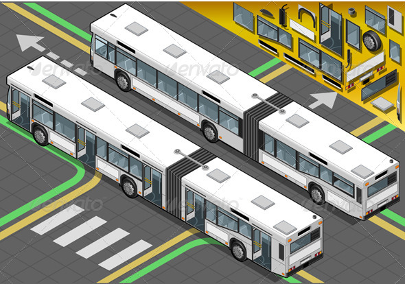 Isometric Long Bus with Open Doors in Rear View - Objects Vectors