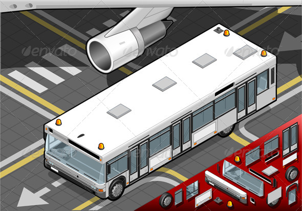 Isometric Airport Bus in Front View - Objects Vectors