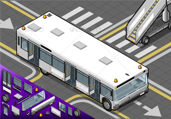 Isometric Airport Bus with Open Doors in Rear View - Objects Vectors