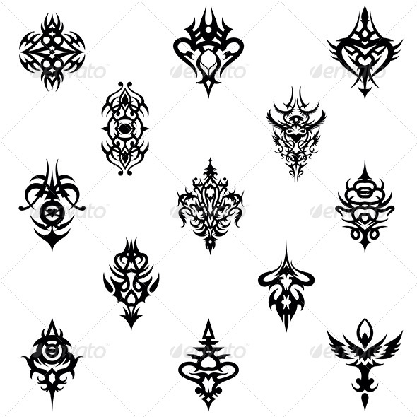 tribal tattoo design elements vector pack by vecras graphicriver rh graphicriver net tattoo victoria bc tattoo vector files