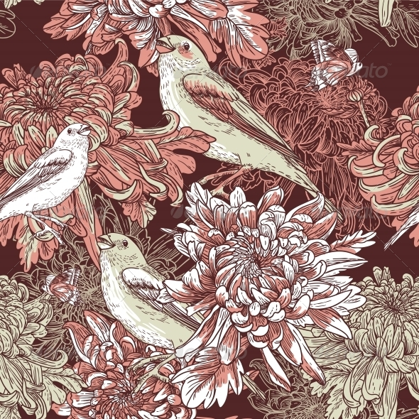 Floral Background with Birds and Chrysanthemums - Flowers & Plants Nature