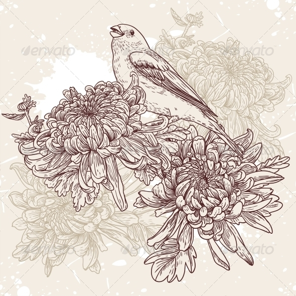 Flowers with Bird Illustration - Flowers & Plants Nature