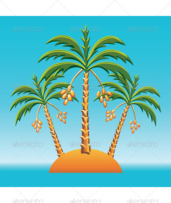 Vector three date palm trees on an island in the o - Landscapes Nature