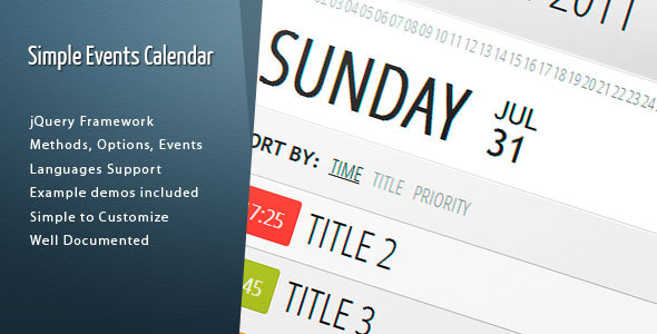 Simple Events Calendar Js By Dpereyra | Codecanyon