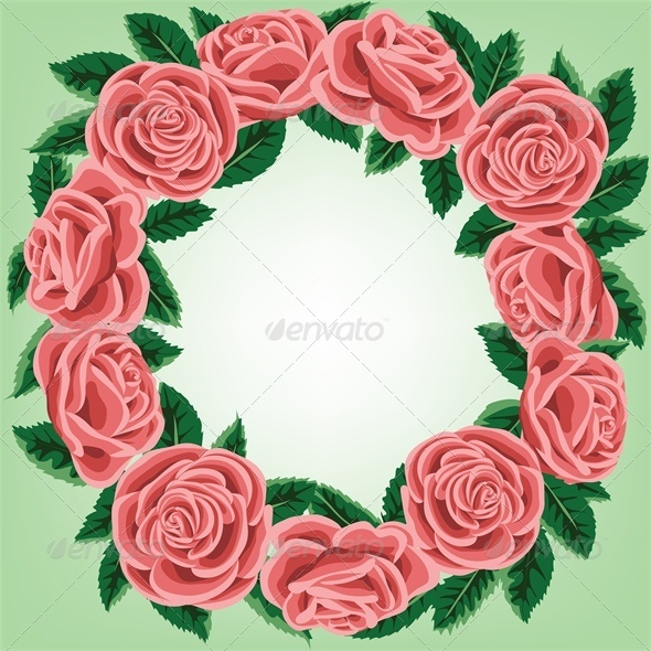 Greeting or Invitation Card with Rose Wreath  - Backgrounds Decorative