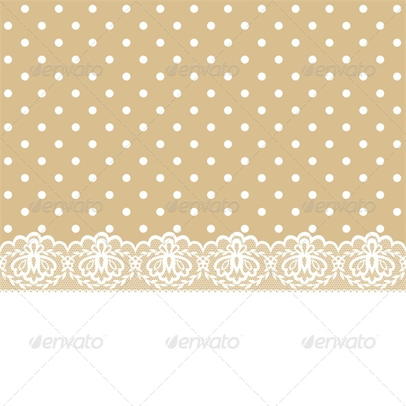 Greeting or Invitation Card with Lace and Ribbon - Backgrounds Decorative