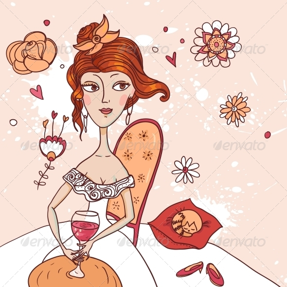 Girl with a Glass of Wine in White Dress - People Characters