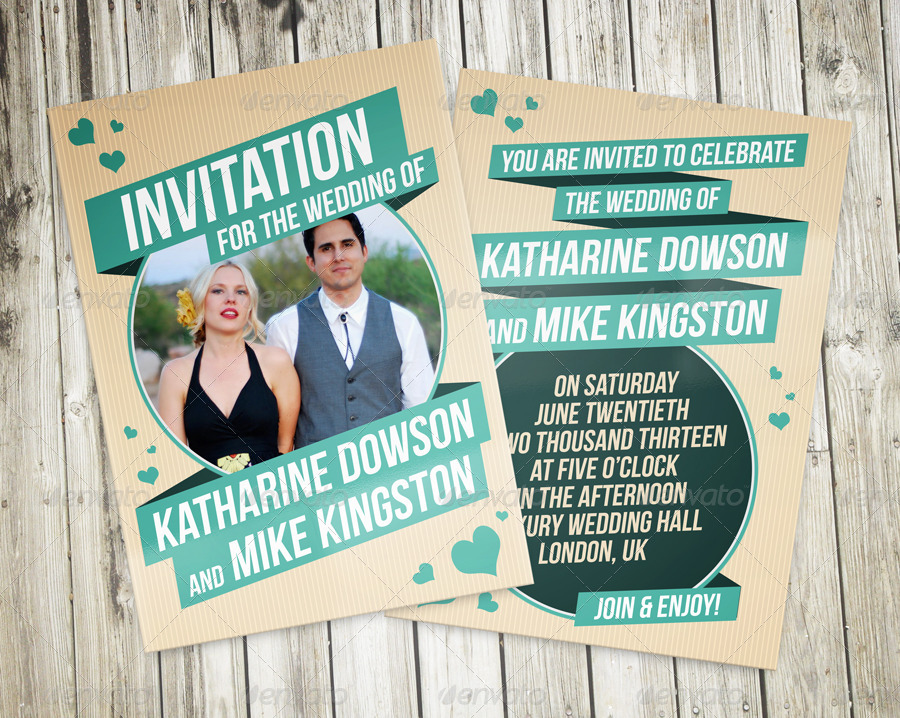 Retro Wedding Invitation by vinyljunkie | GraphicRiver