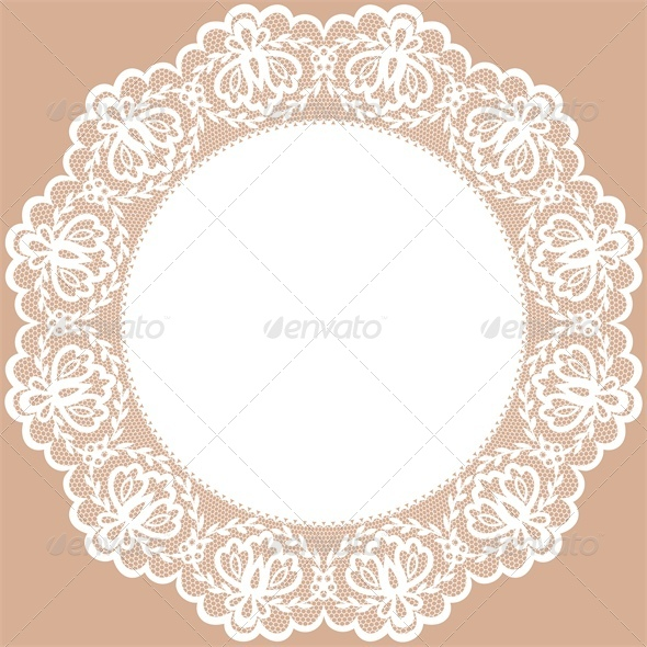 Vintage Card with Lace Doily and Bow - Backgrounds Decorative