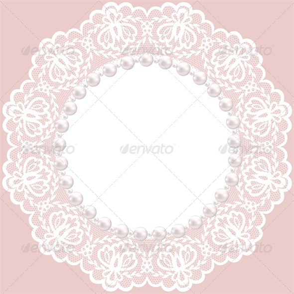 Vintage Card with Lace Doily and Pearls - Backgrounds Decorative