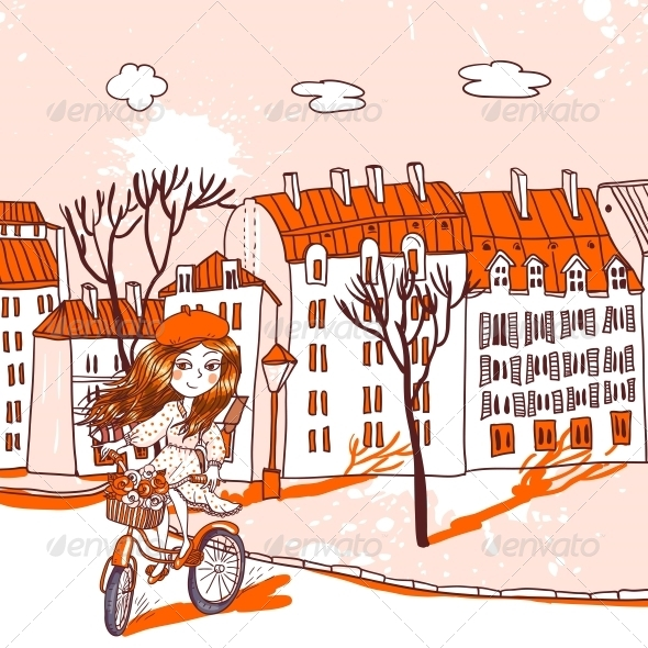 Pretty Girl with Bicycle - People Characters