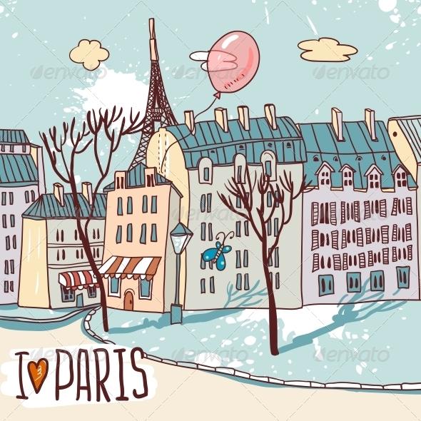 Paris Urban Sketch - Landscapes Nature