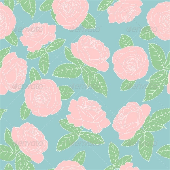 Seamless Background with Pink Roses - Flourishes / Swirls Decorative
