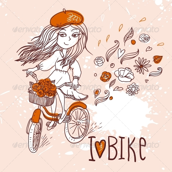 Girl with Bicycle - People Characters