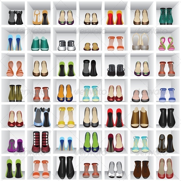 Seamless Background with Shoes on Shelves - Retail Commercial / Shopping