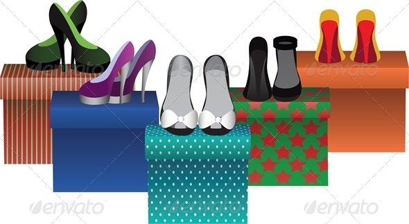 Box with Woman Shoes in Store - Retail Commercial / Shopping