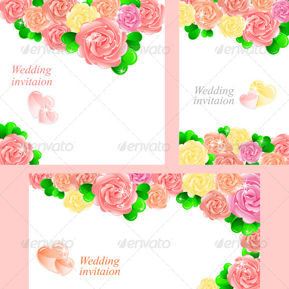 Pink Wedding Invitation with Heart of Roses - Weddings Seasons/Holidays