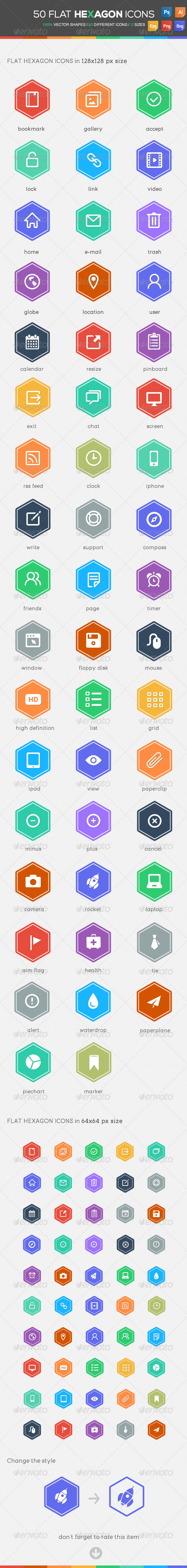 50 Flat Hexagon Icons - Icons
