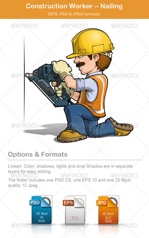 Construction Worker Nailing - People Characters