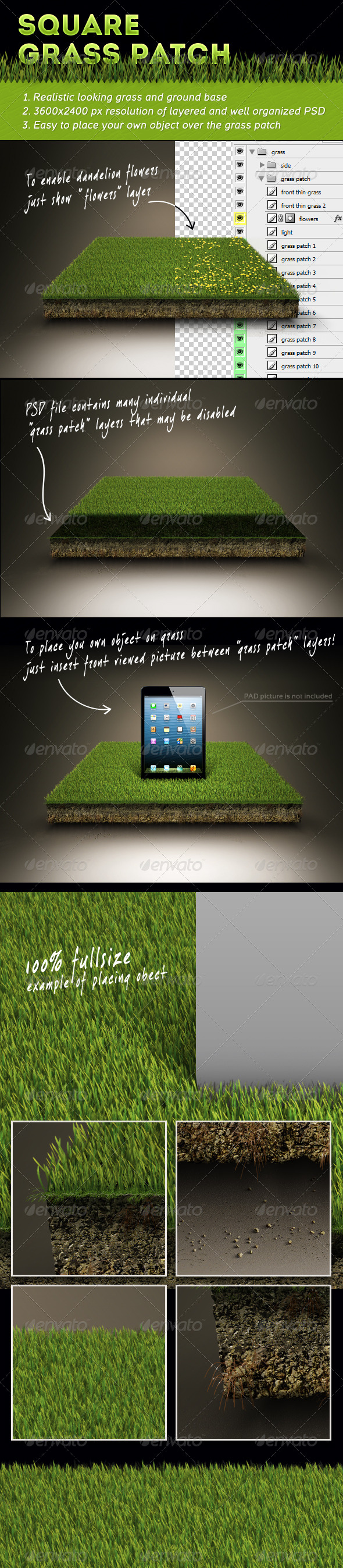 Square Grass Patch - Nature Backgrounds