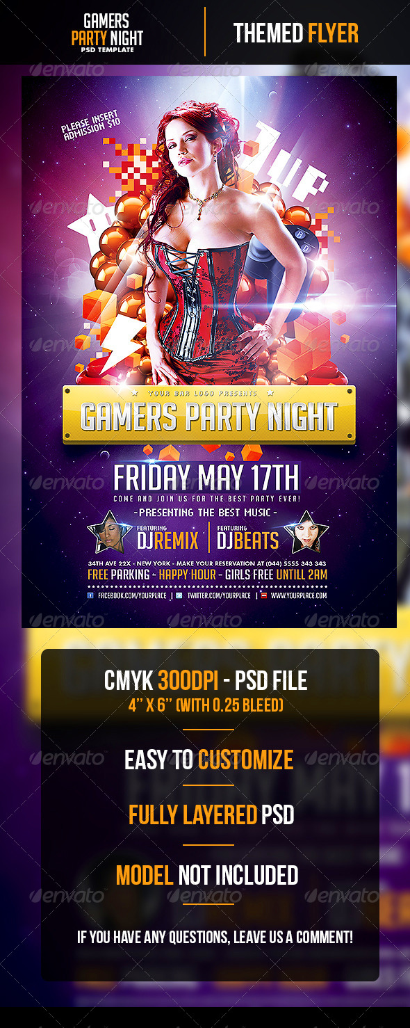 Gamers Party Night Flyer Template - Clubs & Parties Events