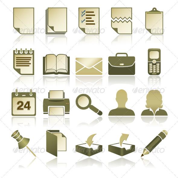 Green Office Icons Set - Web Elements Vectors