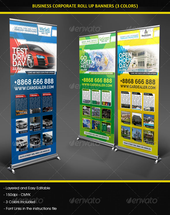 Business Corporate Roll Up Banners Signage - Signage Print Templates