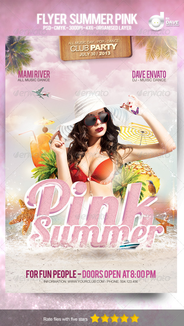 Flyer Summer Pink Template - Events Flyers