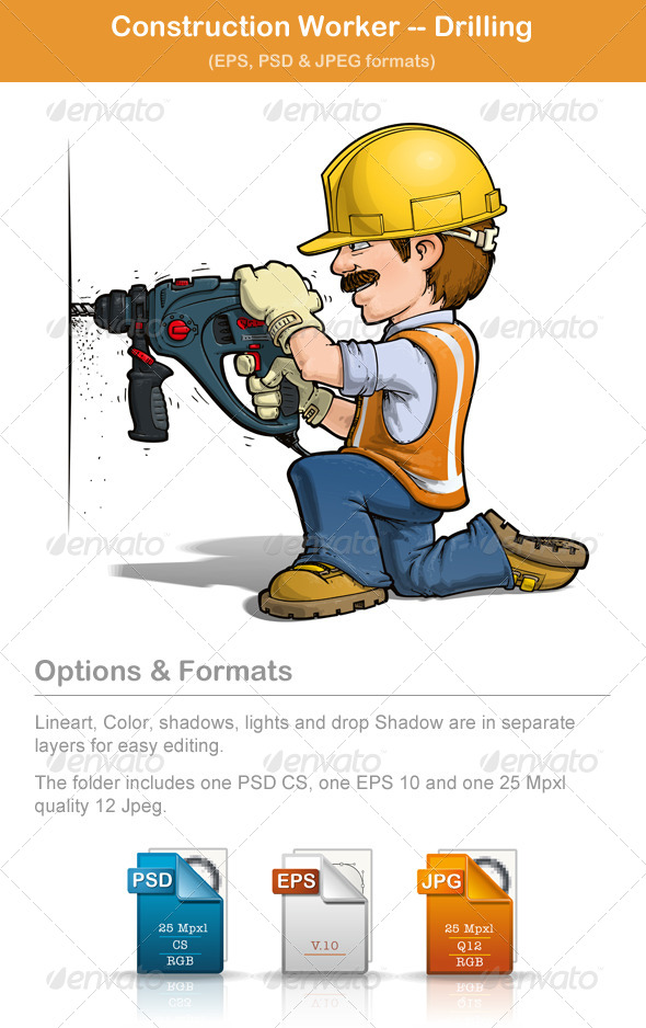 Construction Worker Drilling - People Characters